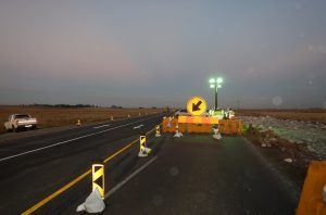 Bypass closure lighting to make it more visable and safe for road users